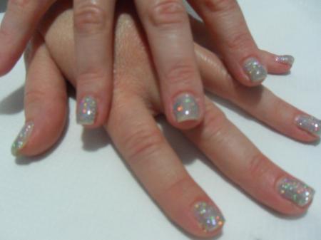 Unghie Gel Glitter Argento Parete Attrezzata Moderna